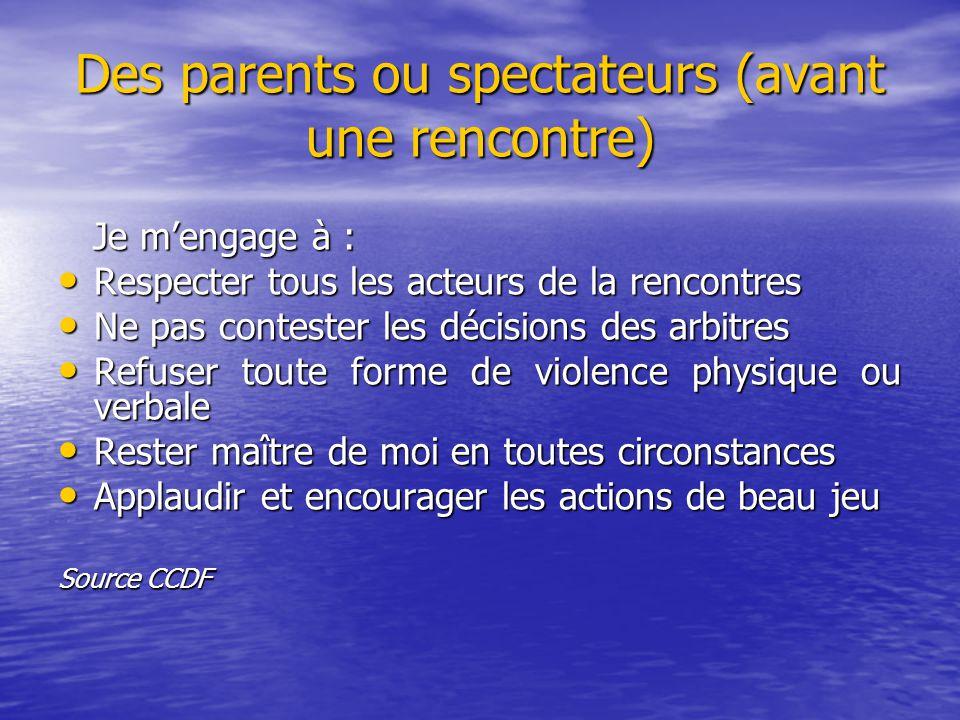 Des parents ou spectateurs (avant une rencontre)