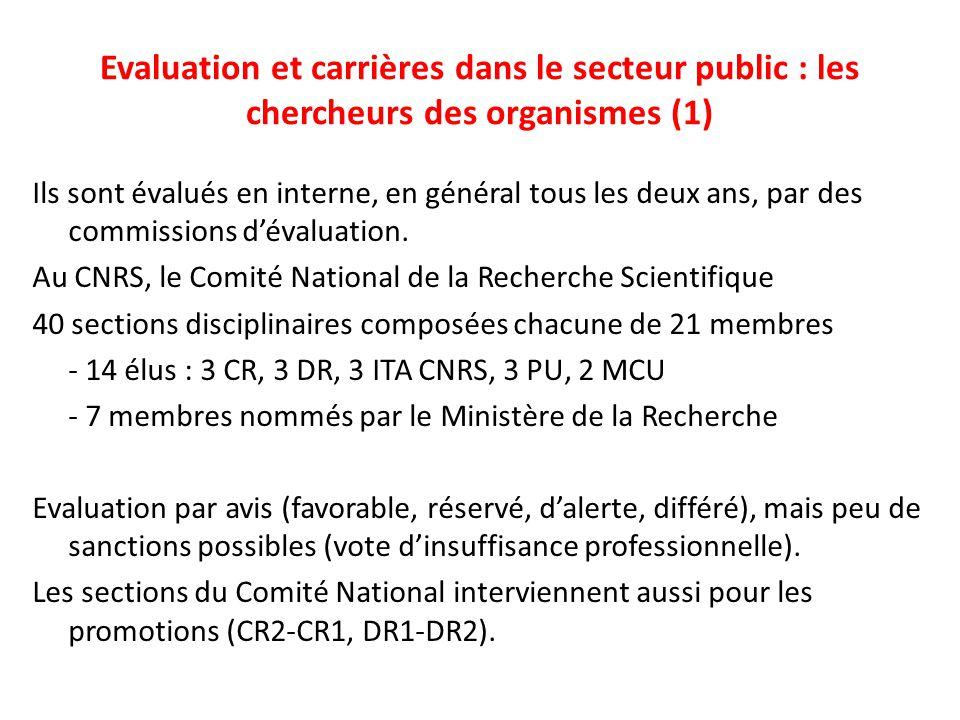 Evaluation et carrières dans le secteur public : les chercheurs des organismes (1)