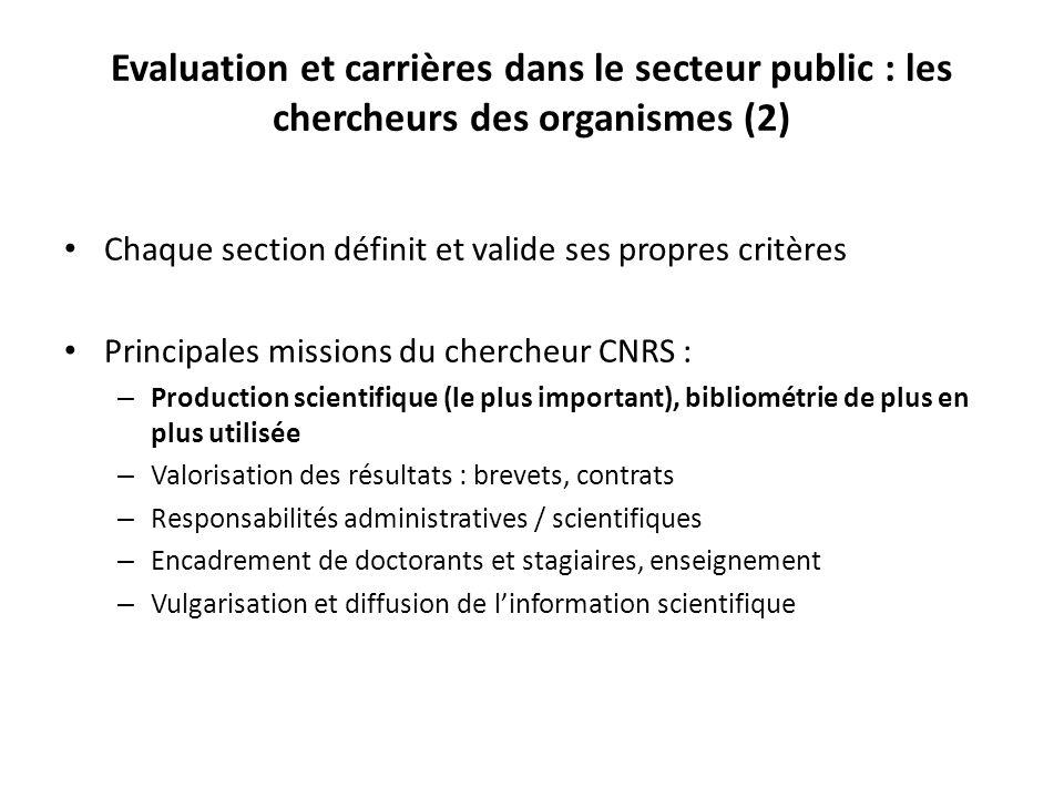 Evaluation et carrières dans le secteur public : les chercheurs des organismes (2)