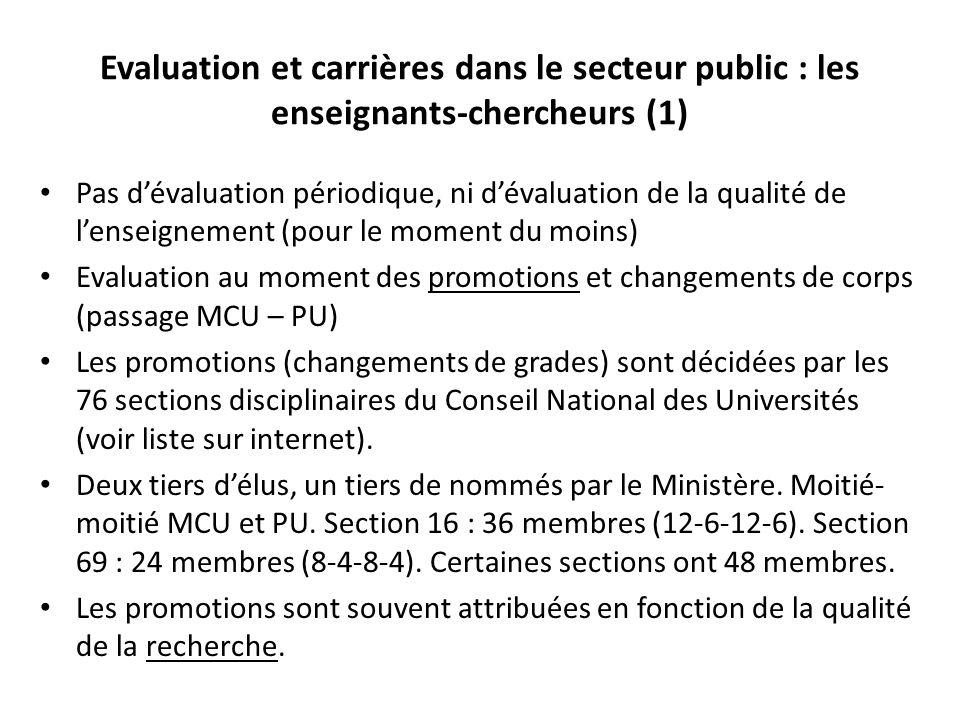 Evaluation et carrières dans le secteur public : les enseignants-chercheurs (1)