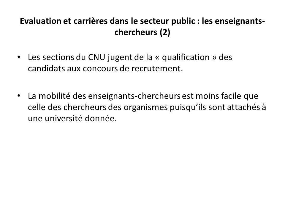 Evaluation et carrières dans le secteur public : les enseignants-chercheurs (2)