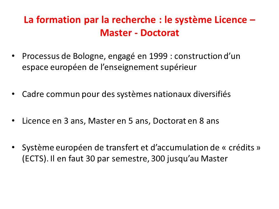 La formation par la recherche : le système Licence – Master - Doctorat