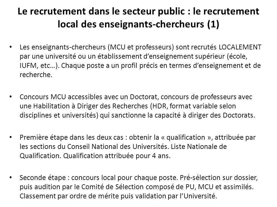 Le recrutement dans le secteur public : le recrutement local des enseignants-chercheurs (1)