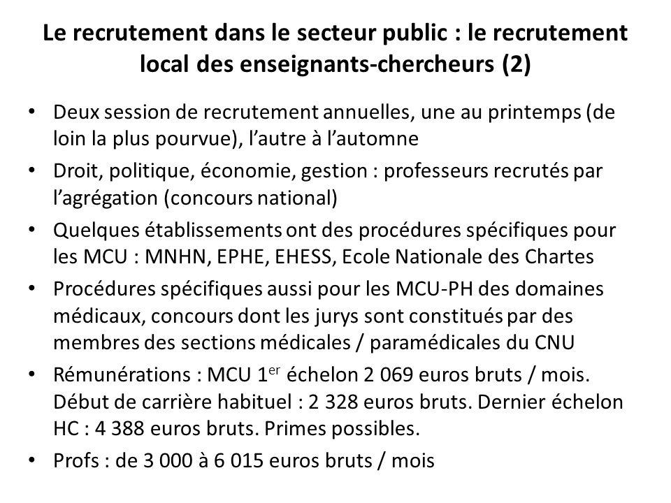 Le recrutement dans le secteur public : le recrutement local des enseignants-chercheurs (2)