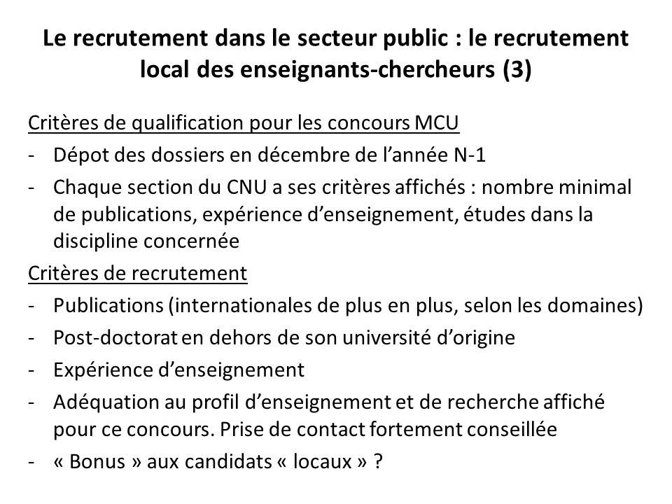 Le recrutement dans le secteur public : le recrutement local des enseignants-chercheurs (3)