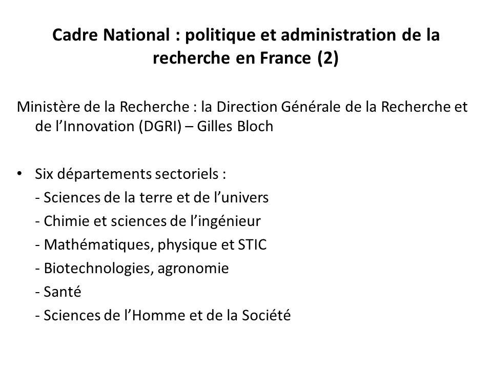 Cadre National : politique et administration de la recherche en France (2)