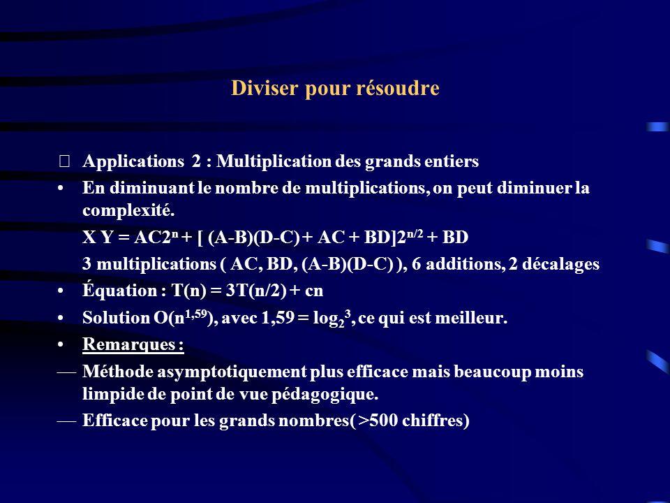Diviser pour résoudre Applications 2 : Multiplication des grands entiers.