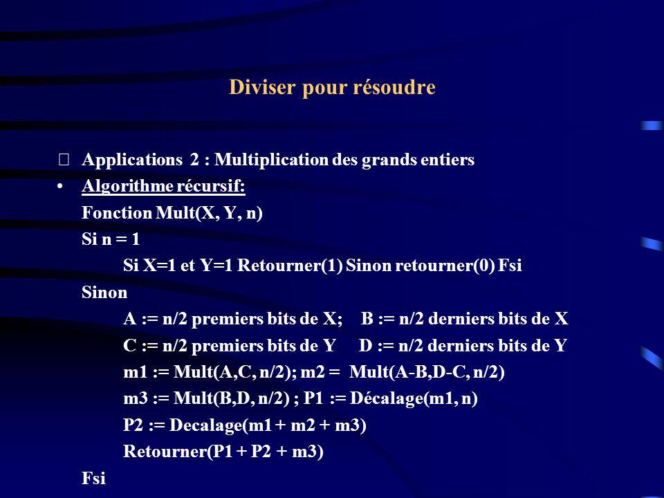 Diviser pour résoudre Applications 2 : Multiplication des grands entiers. Algorithme récursif: Fonction Mult(X, Y, n)