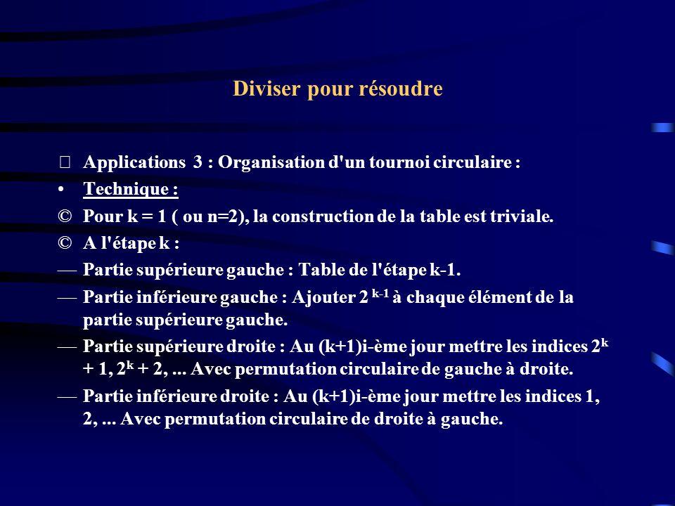Diviser pour résoudre Applications 3 : Organisation d un tournoi circulaire : Technique :