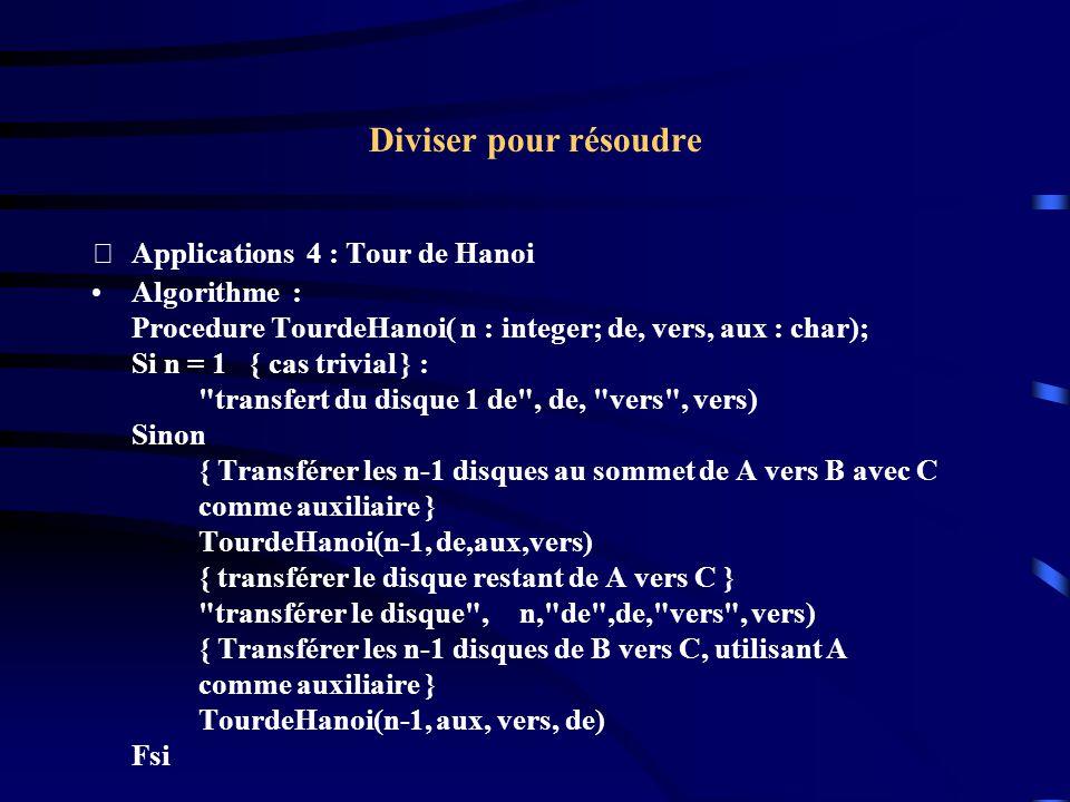 Diviser pour résoudre Applications 4 : Tour de Hanoi Algorithme :