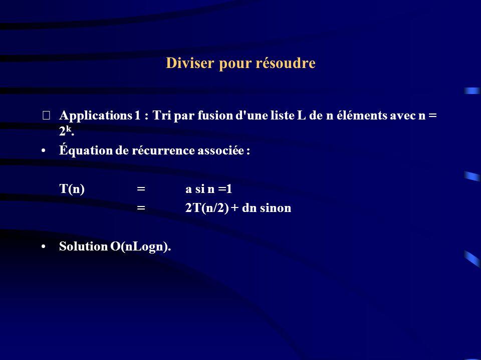 Diviser pour résoudre Applications 1 : Tri par fusion d une liste L de n éléments avec n = 2k. Équation de récurrence associée :
