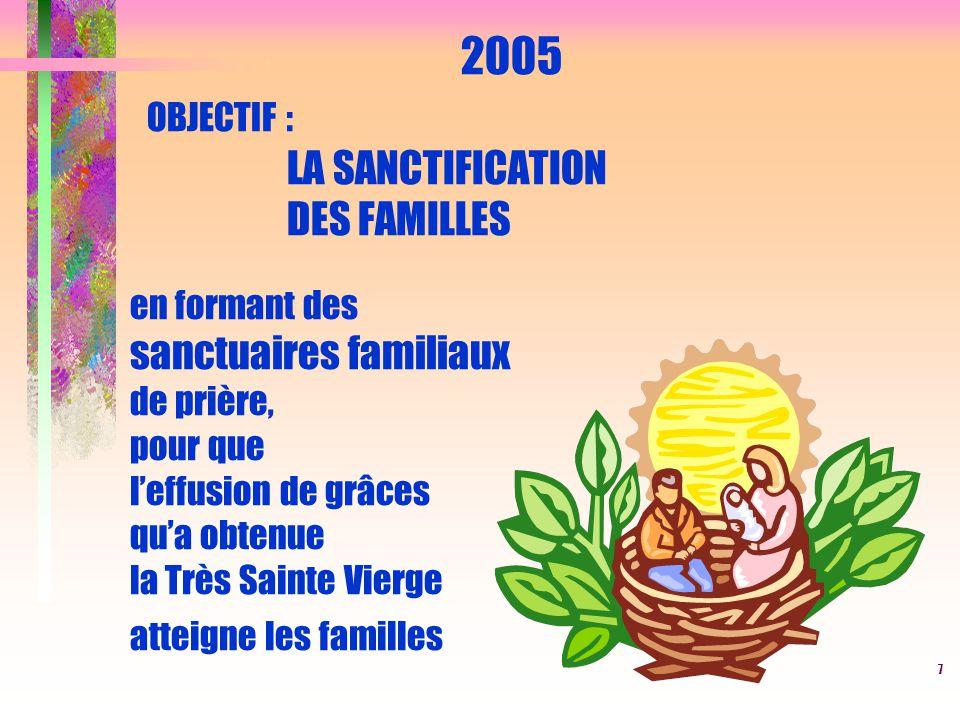2005 OBJECTIF : LA SANCTIFICATION DES FAMILLES en formant des sanctuaires familiaux de prière, pour que l'effusion de grâces qu'a obtenue la Très Sainte Vierge atteigne les familles
