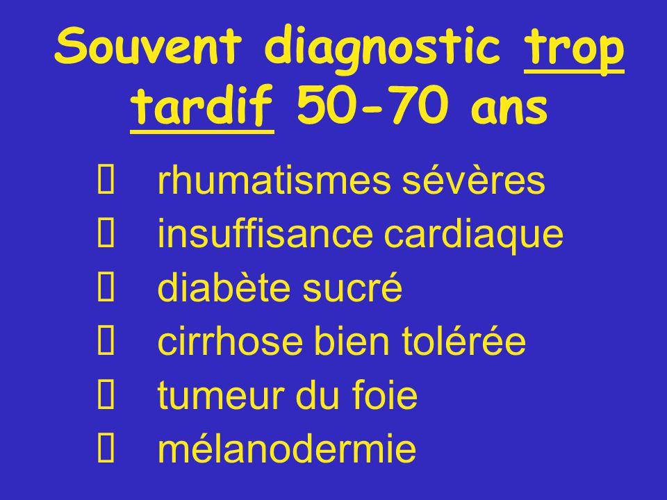 Souvent diagnostic trop tardif 50-70 ans