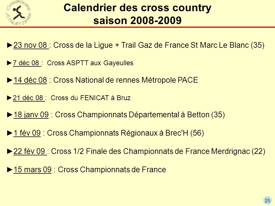 Calendrier des cross country saison 2008-2009