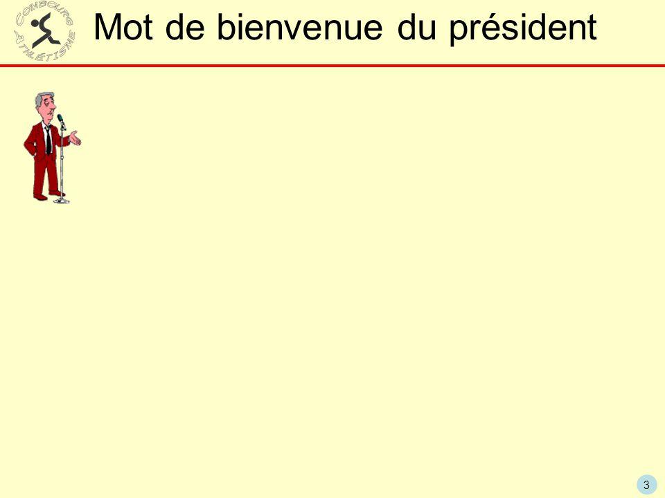 Mot de bienvenue du président