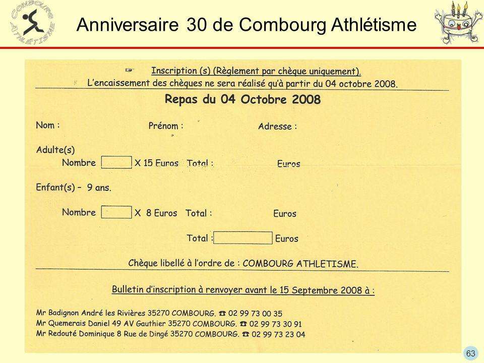 Anniversaire 30 de Combourg Athlétisme