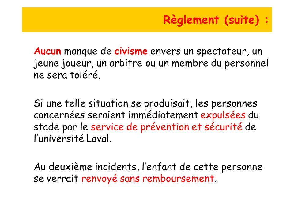 Règlement (suite) : Aucun manque de civisme envers un spectateur, un jeune joueur, un arbitre ou un membre du personnel ne sera toléré.
