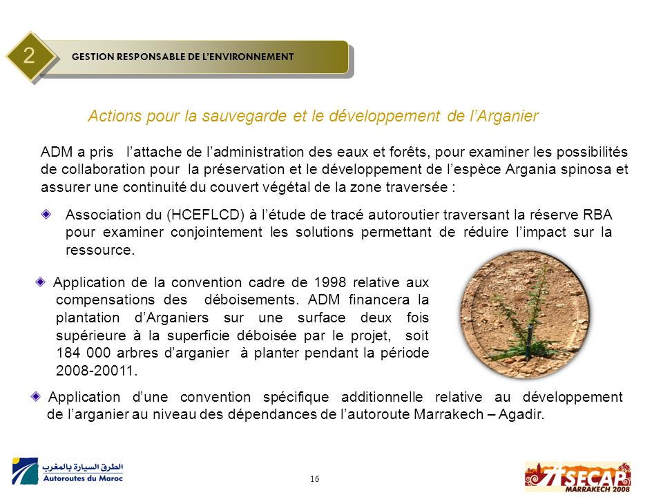 2 Actions pour la sauvegarde et le développement de l'Arganier