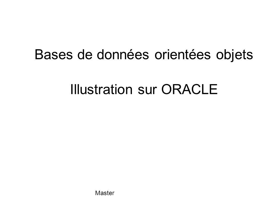 Bases de données orientées objets Illustration sur ORACLE