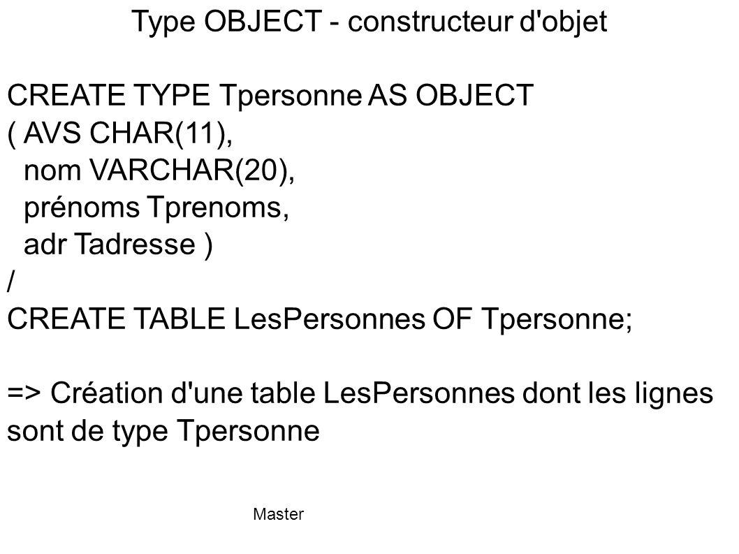Type OBJECT - constructeur d objet