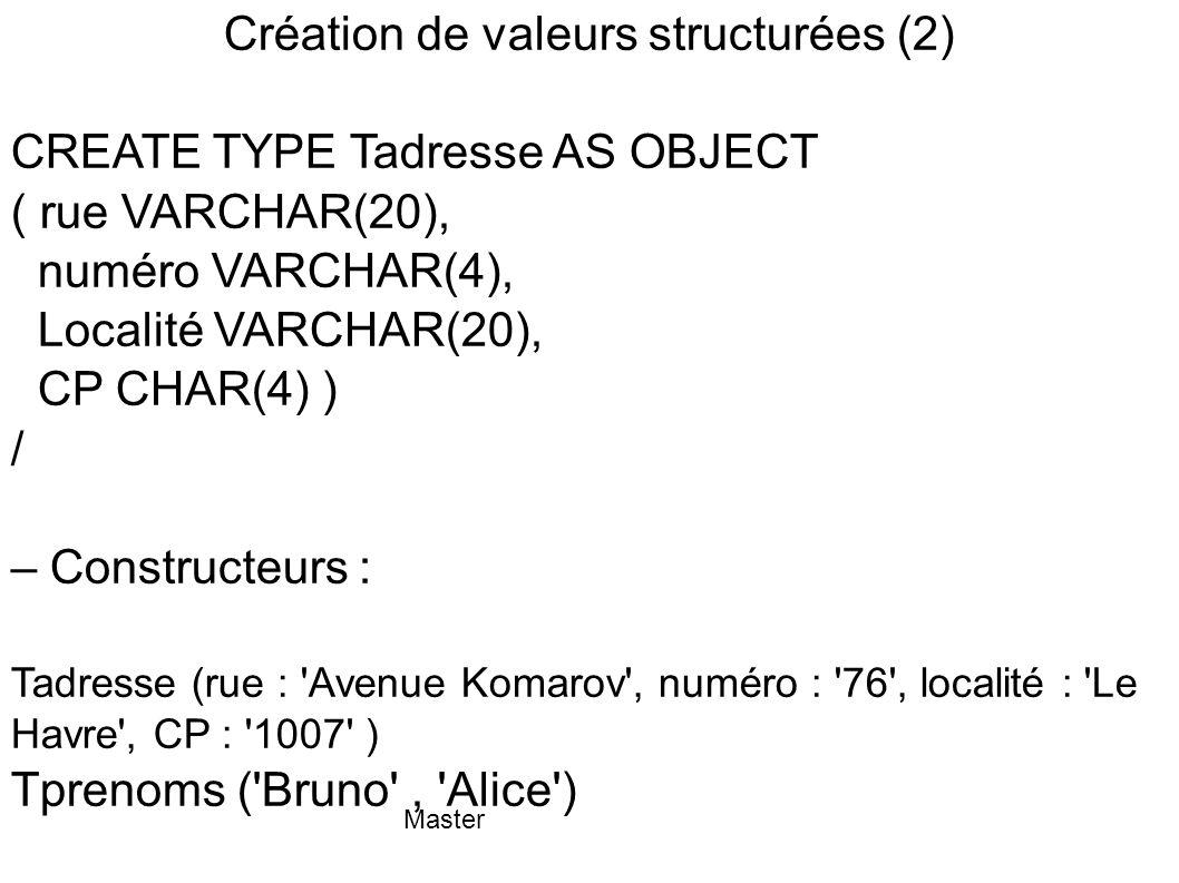 Création de valeurs structurées (2)