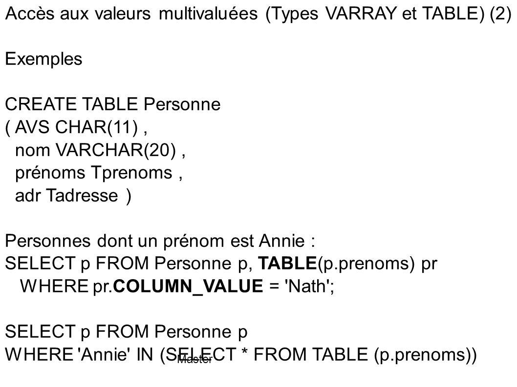 Accès aux valeurs multivaluées (Types VARRAY et TABLE) (2)