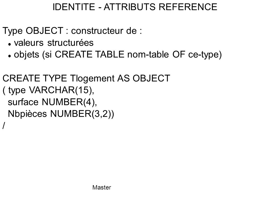 IDENTITE - ATTRIBUTS REFERENCE