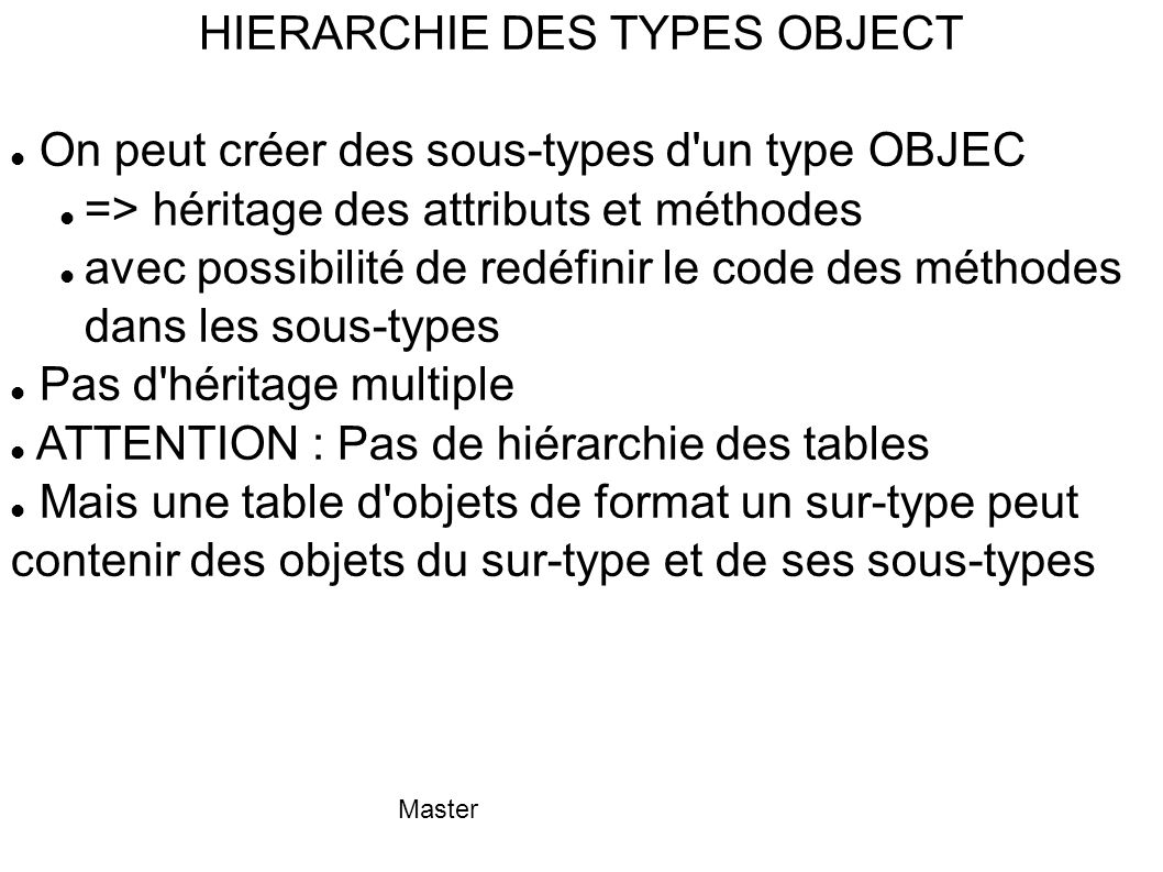 HIERARCHIE DES TYPES OBJECT