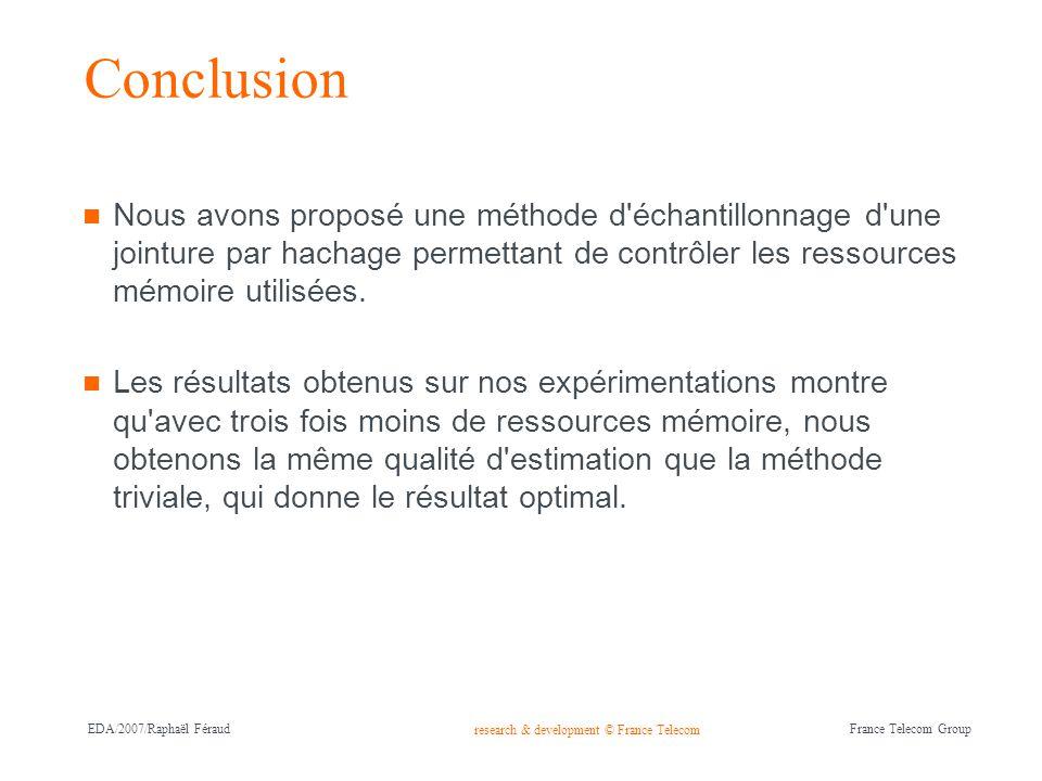 Conclusion Nous avons proposé une méthode d échantillonnage d une jointure par hachage permettant de contrôler les ressources mémoire utilisées.