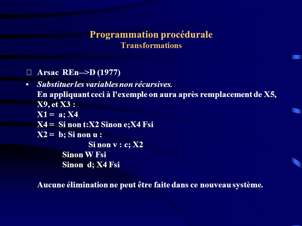 Programmation procédurale Transformations