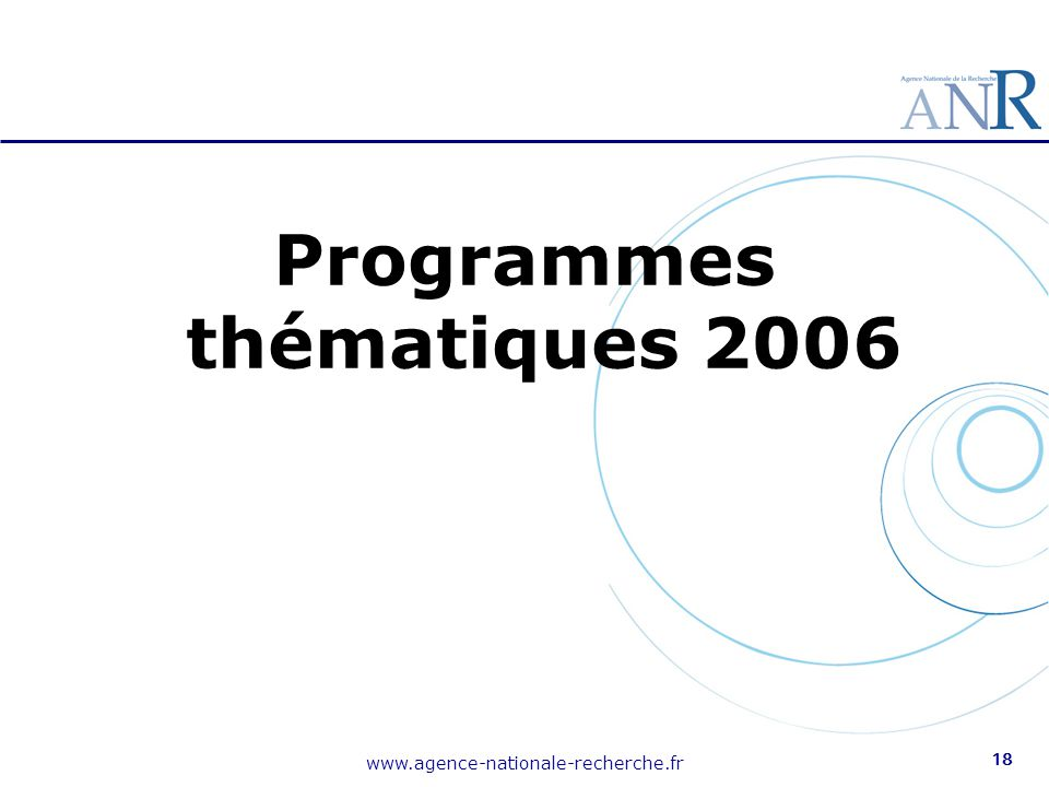 Programmes thématiques 2006