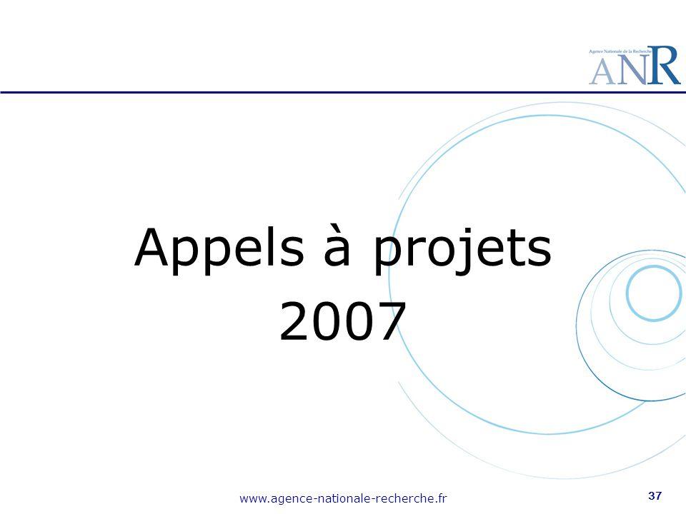 Appels à projets 2007 www.agence-nationale-recherche.fr