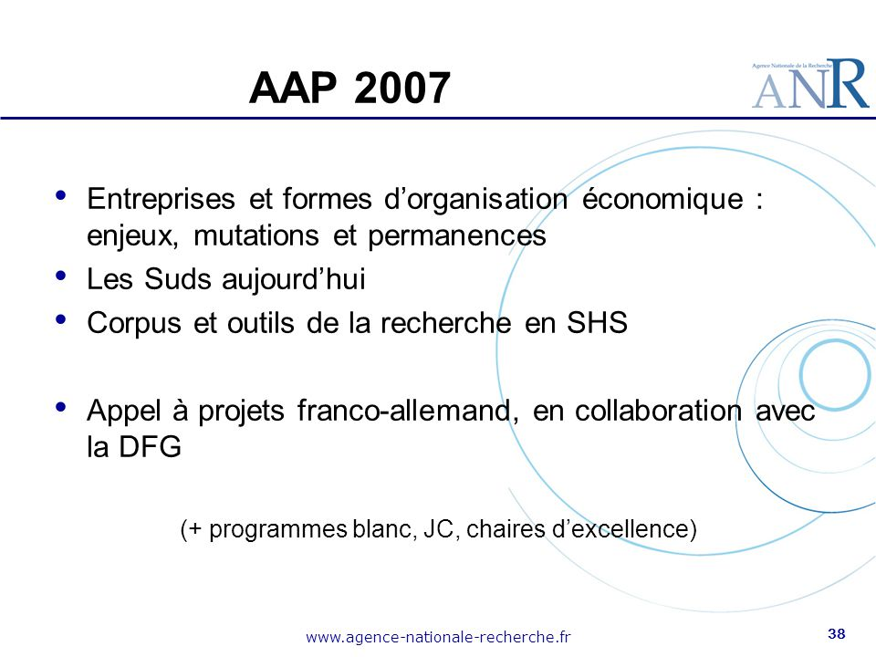 (+ programmes blanc, JC, chaires d'excellence)