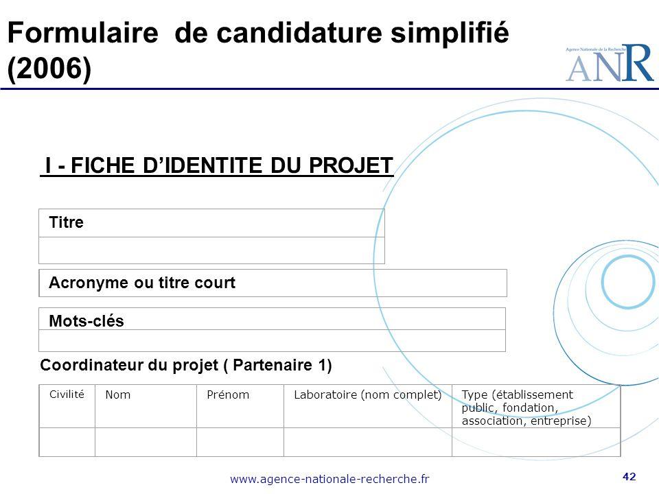 Formulaire de candidature simplifié (2006)