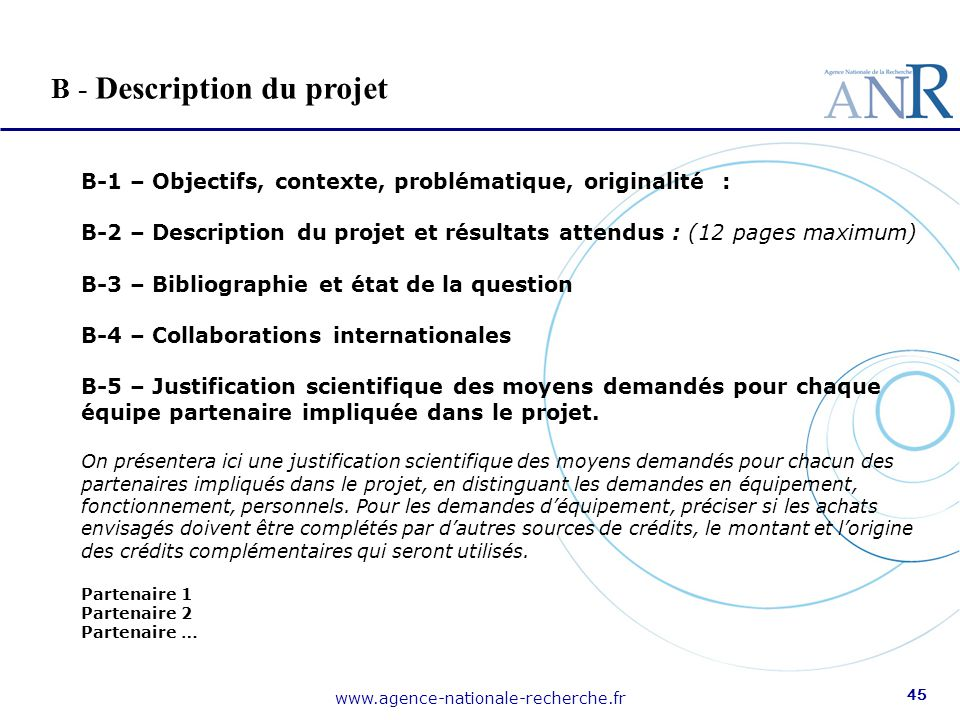 B - Description du projet
