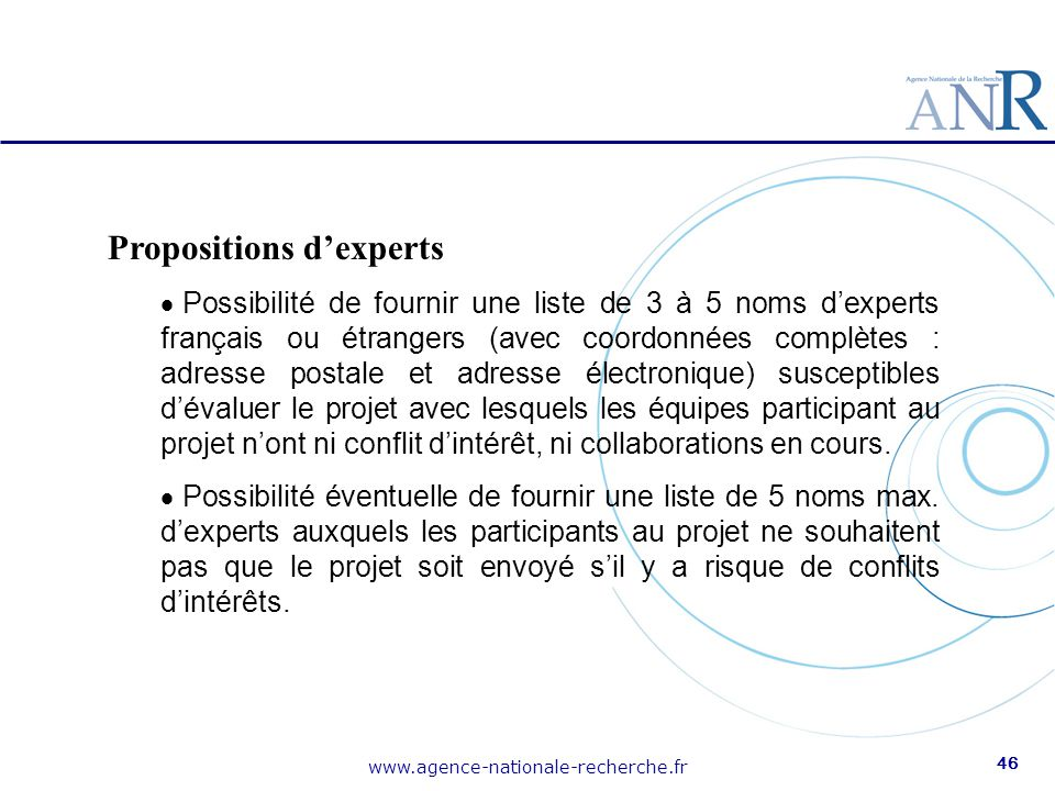 Propositions d'experts
