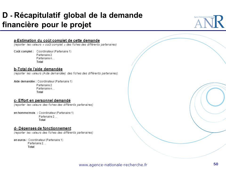 D - Récapitulatif global de la demande financière pour le projet