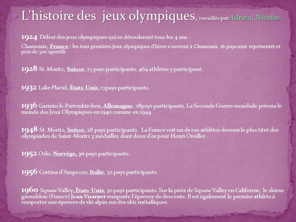 L histoire des jeux olympiques, travaillée par Adrien, Nicolas