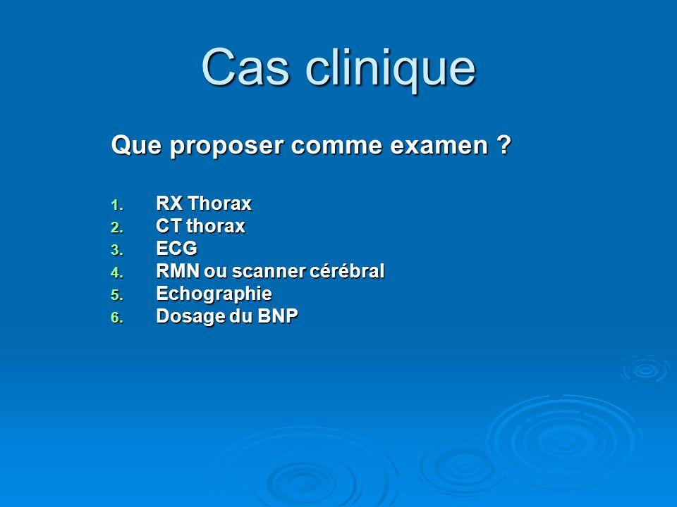 Cas clinique Que proposer comme examen RX Thorax CT thorax ECG