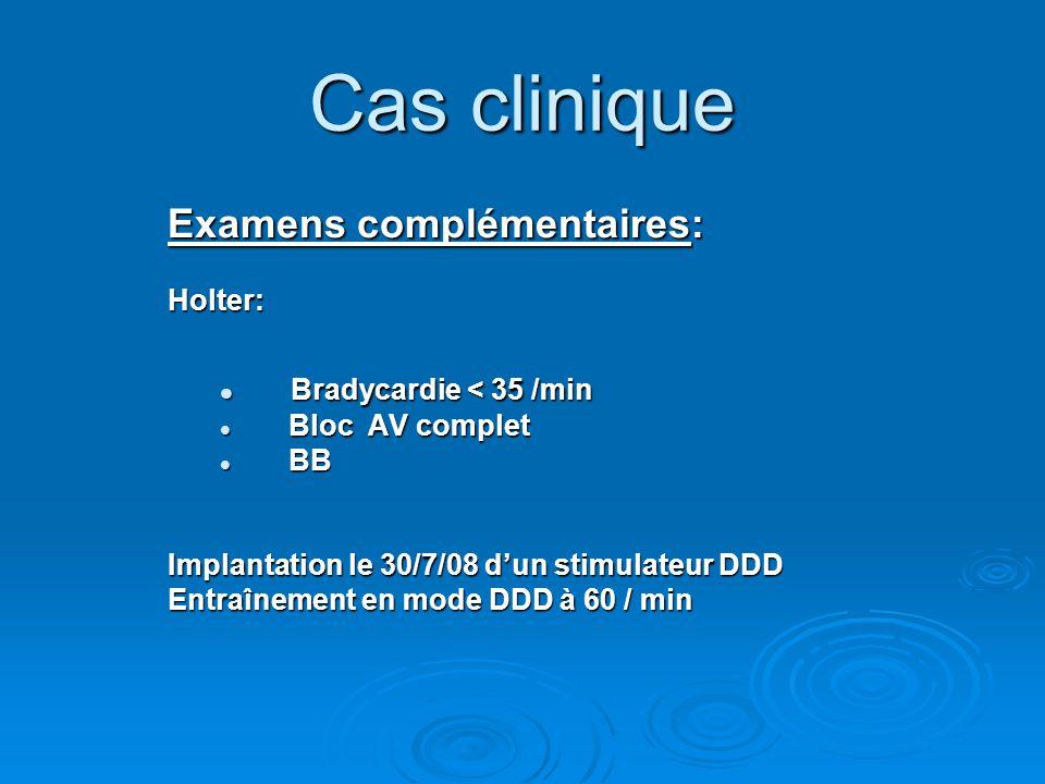 Cas clinique Examens complémentaires: Bradycardie < 35 /min Holter: