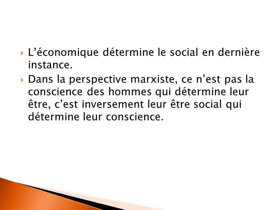 L'économique détermine le social en dernière instance.