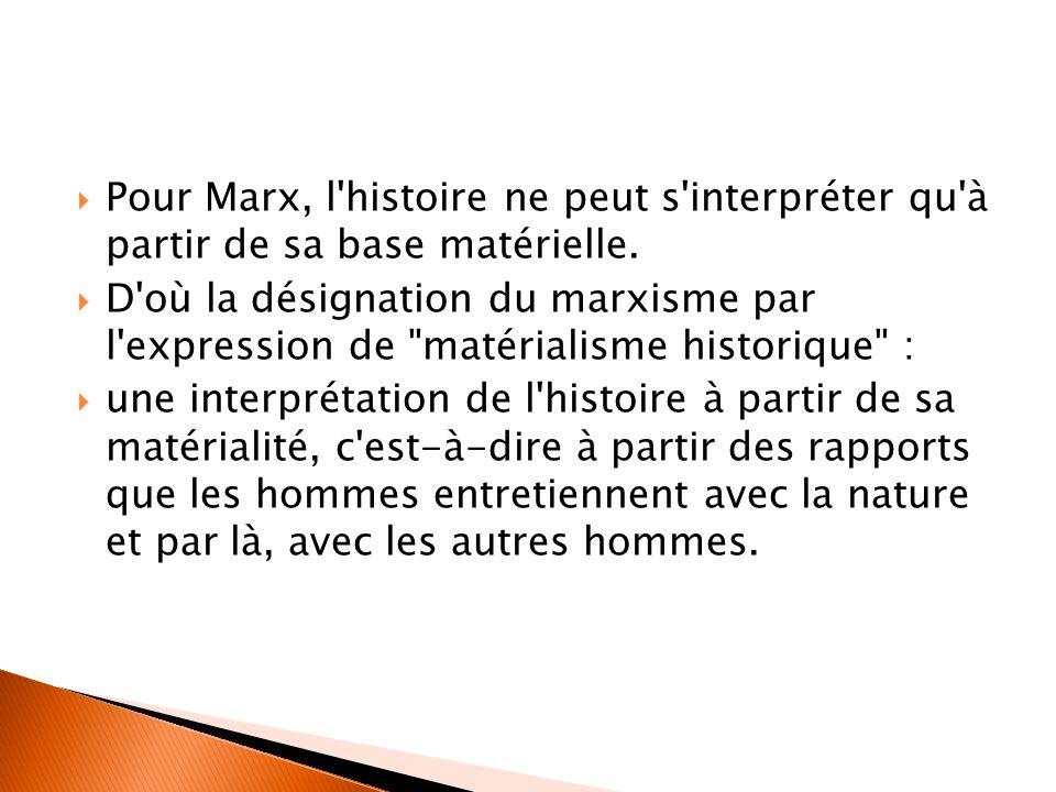 Pour Marx, l histoire ne peut s interpréter qu à partir de sa base matérielle.