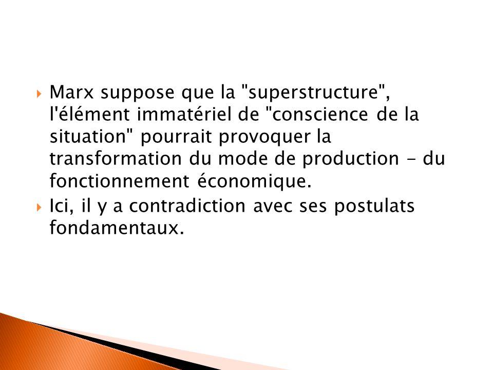 Marx suppose que la superstructure , l élément immatériel de conscience de la situation pourrait provoquer la transformation du mode de production - du fonctionnement économique.