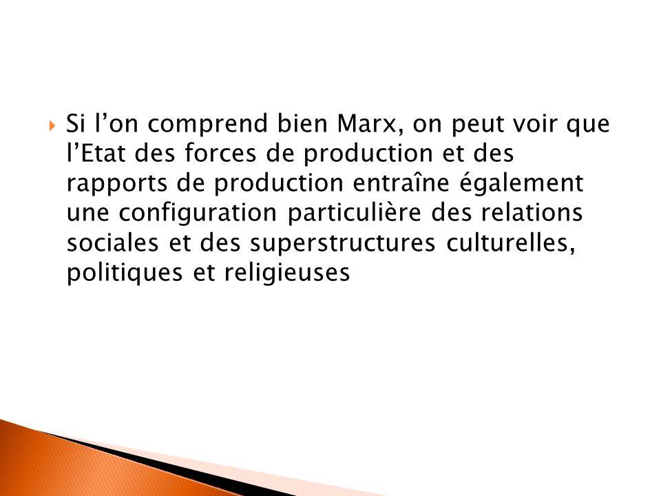 Si l'on comprend bien Marx, on peut voir que l'Etat des forces de production et des rapports de production entraîne également une configuration particulière des relations sociales et des superstructures culturelles, politiques et religieuses