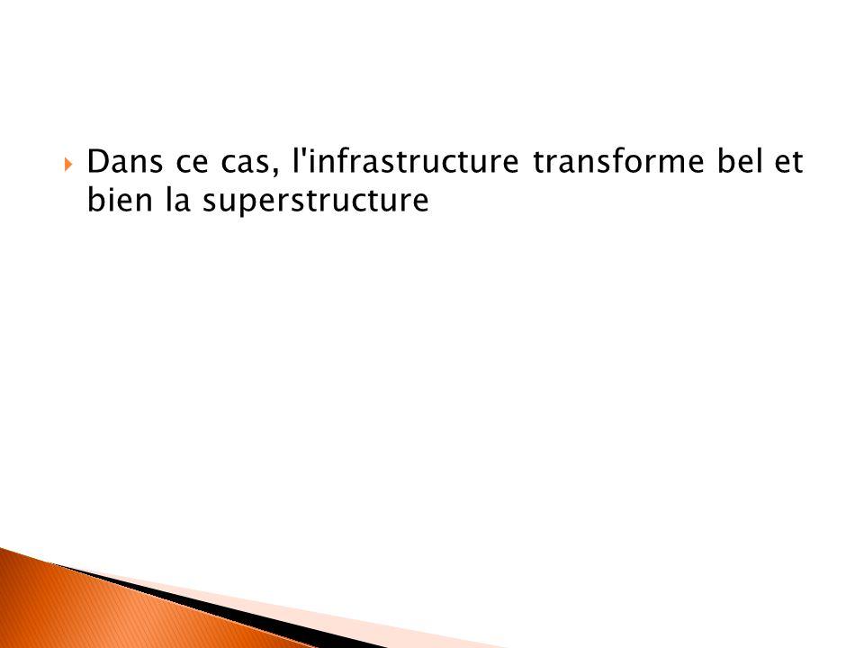 Dans ce cas, l infrastructure transforme bel et bien la superstructure