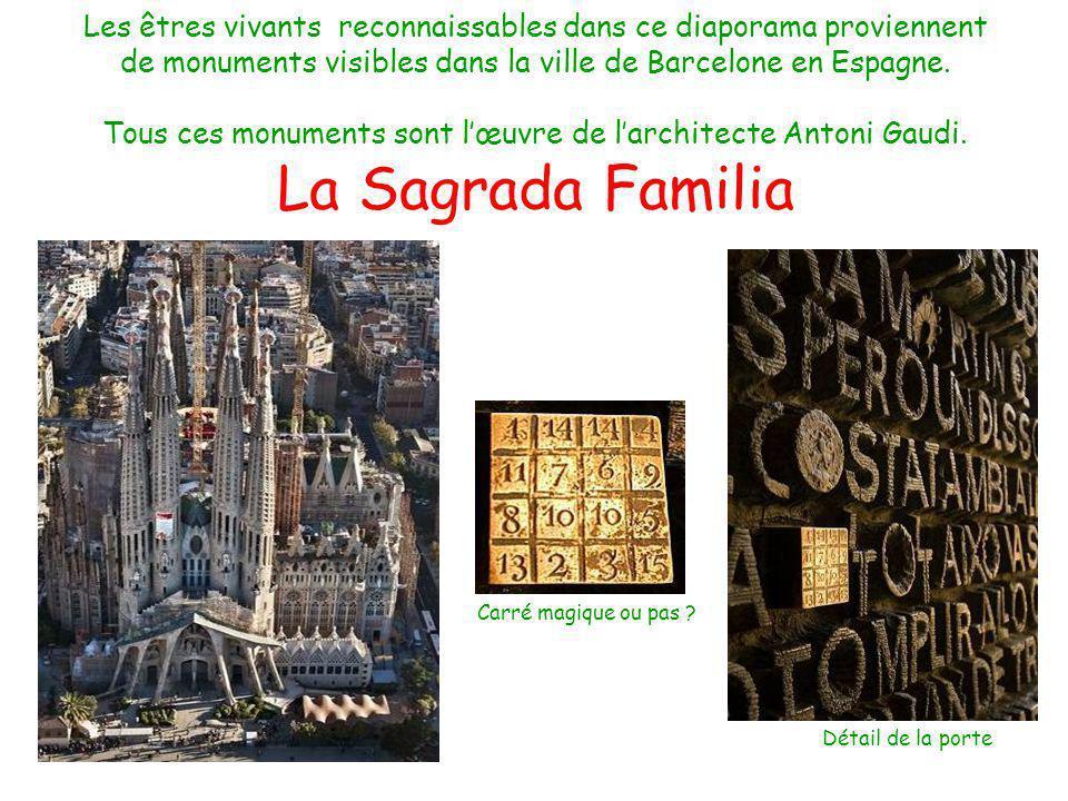 Les êtres vivants reconnaissables dans ce diaporama proviennent de monuments visibles dans la ville de Barcelone en Espagne. Tous ces monuments sont l'œuvre de l'architecte Antoni Gaudi. La Sagrada Familia