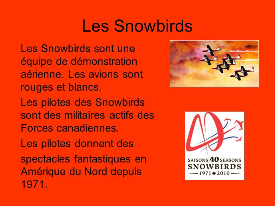 Les Snowbirds Les Snowbirds sont une équipe de démonstration aérienne. Les avions sont rouges et blancs.