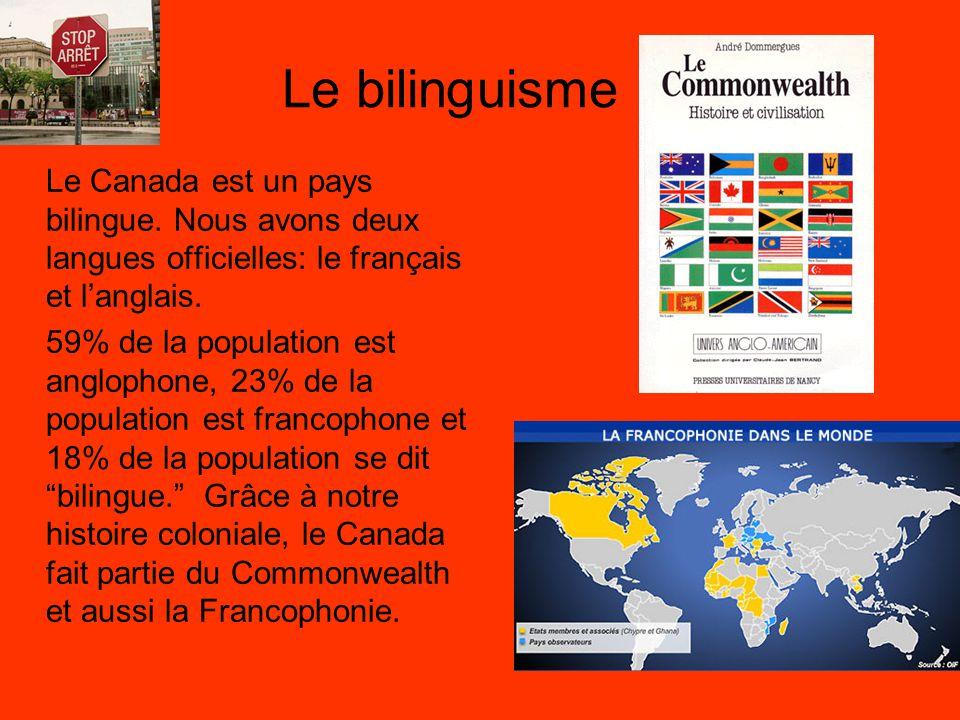 Le bilinguisme Le Canada est un pays bilingue. Nous avons deux langues officielles: le français et l'anglais.
