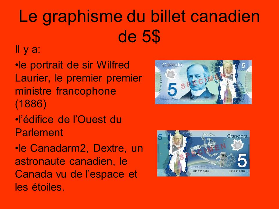 Le graphisme du billet canadien de 5$