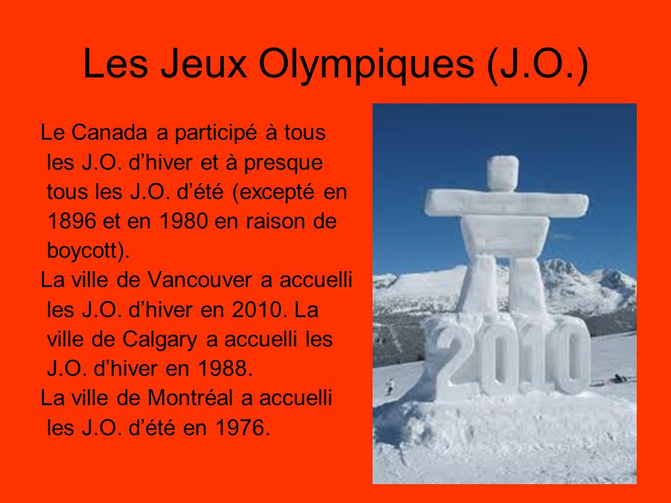 Les Jeux Olympiques (J.O.)